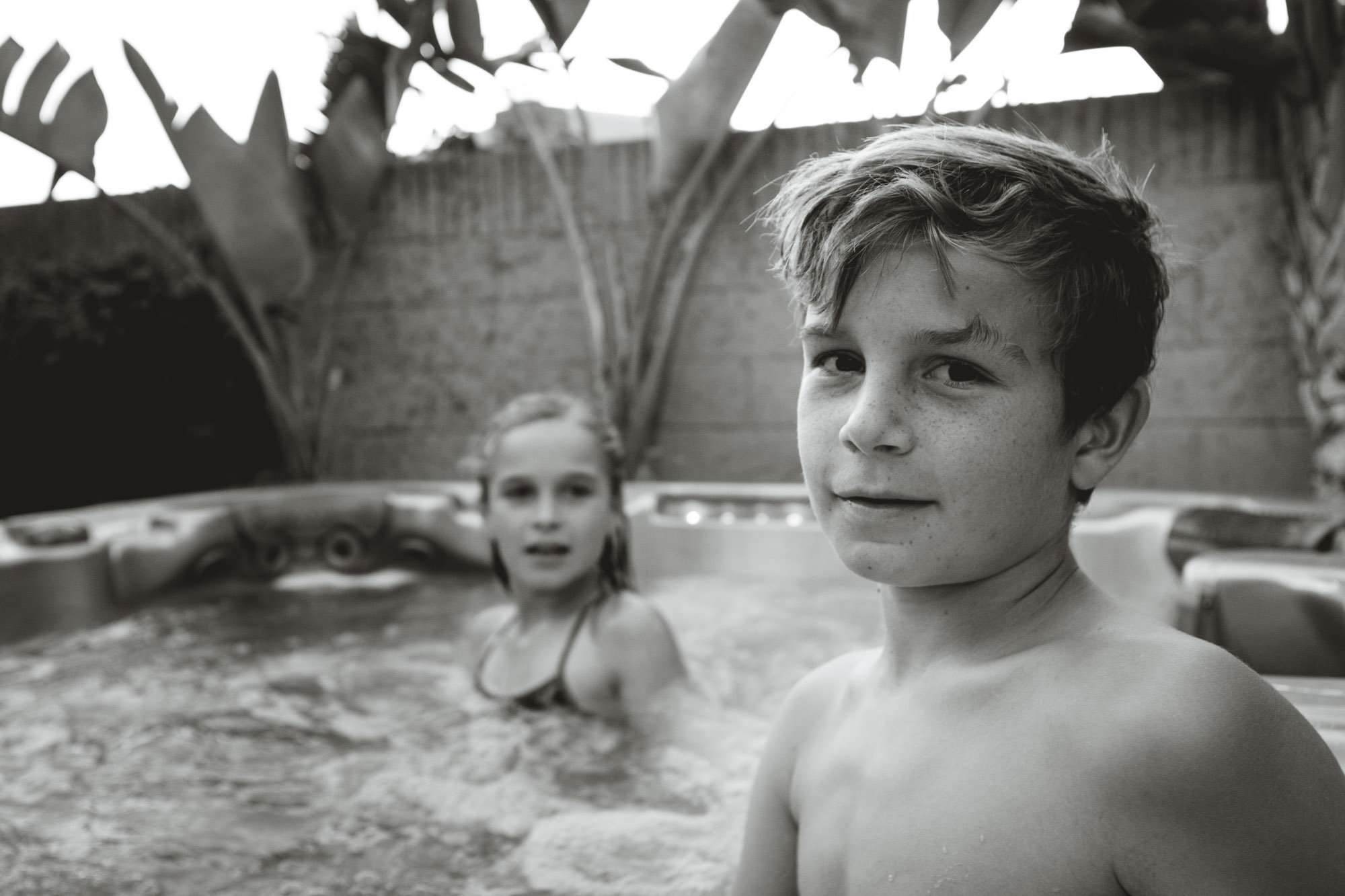 Caleb in the jacuzzi