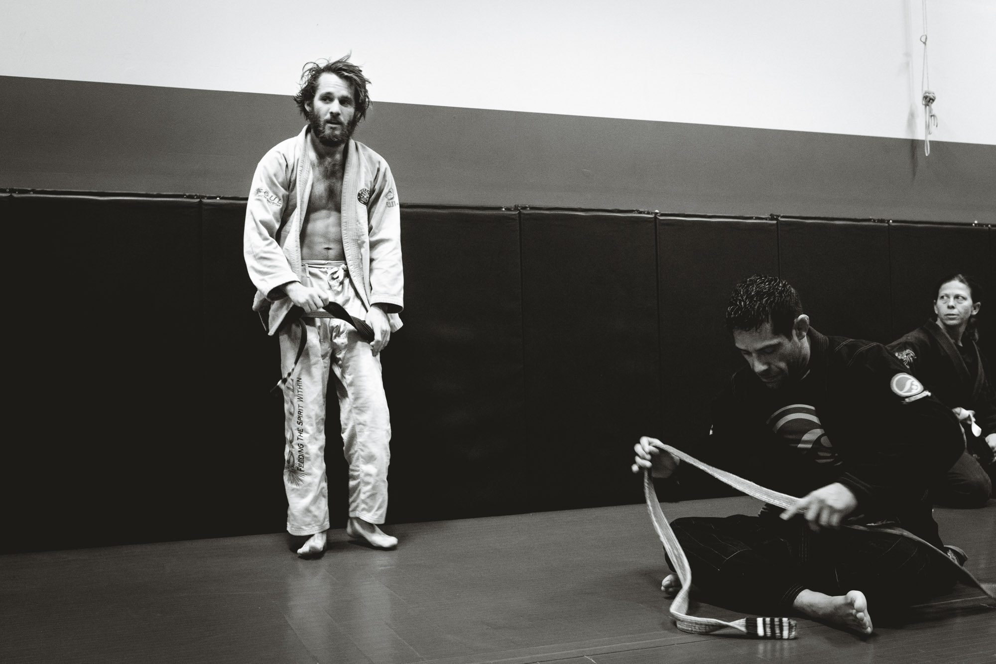 A dazed Hunter fixes his gi after a tough roll with Jorge