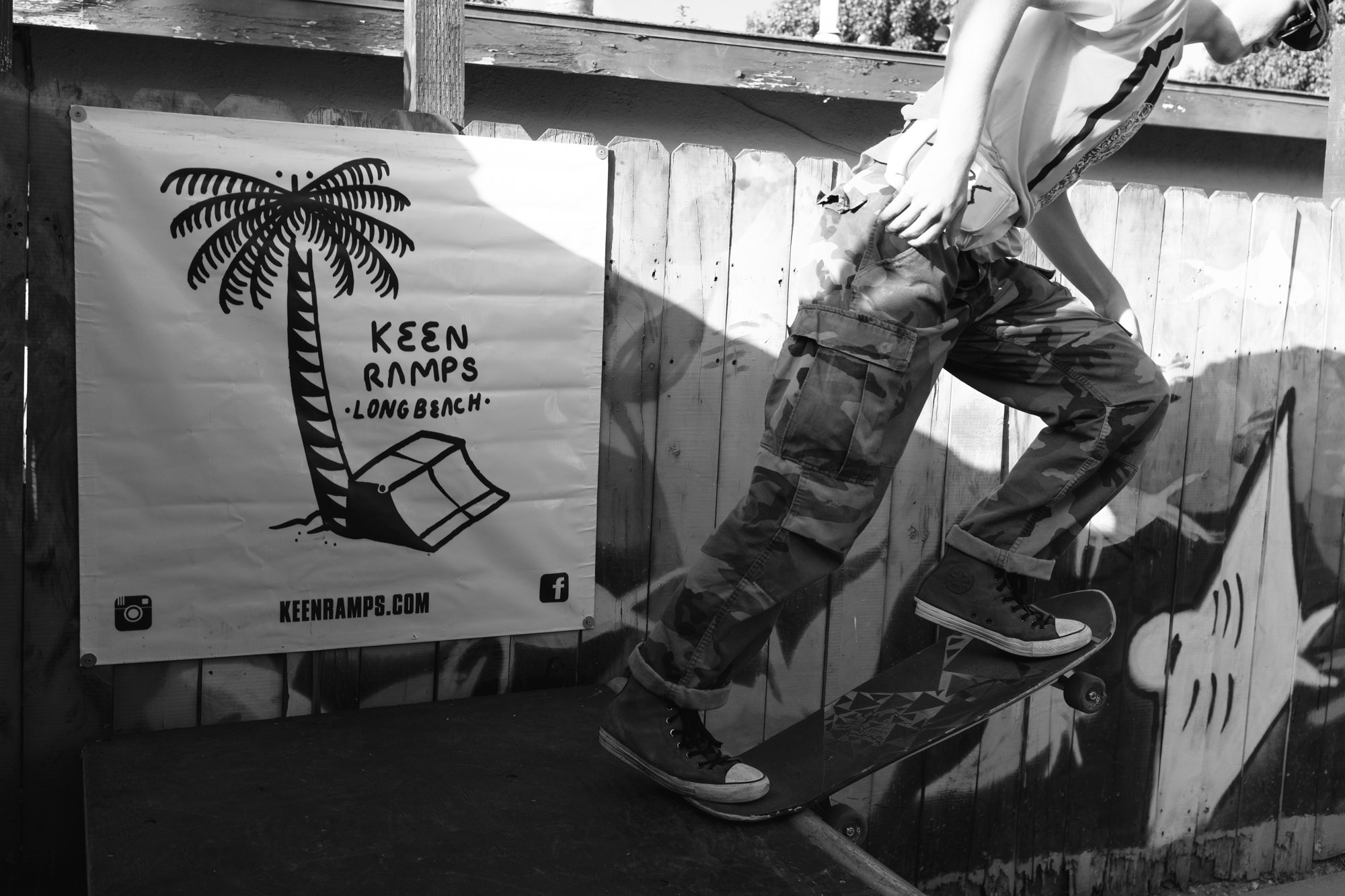 Keen ramps banner displayed on a miniramp