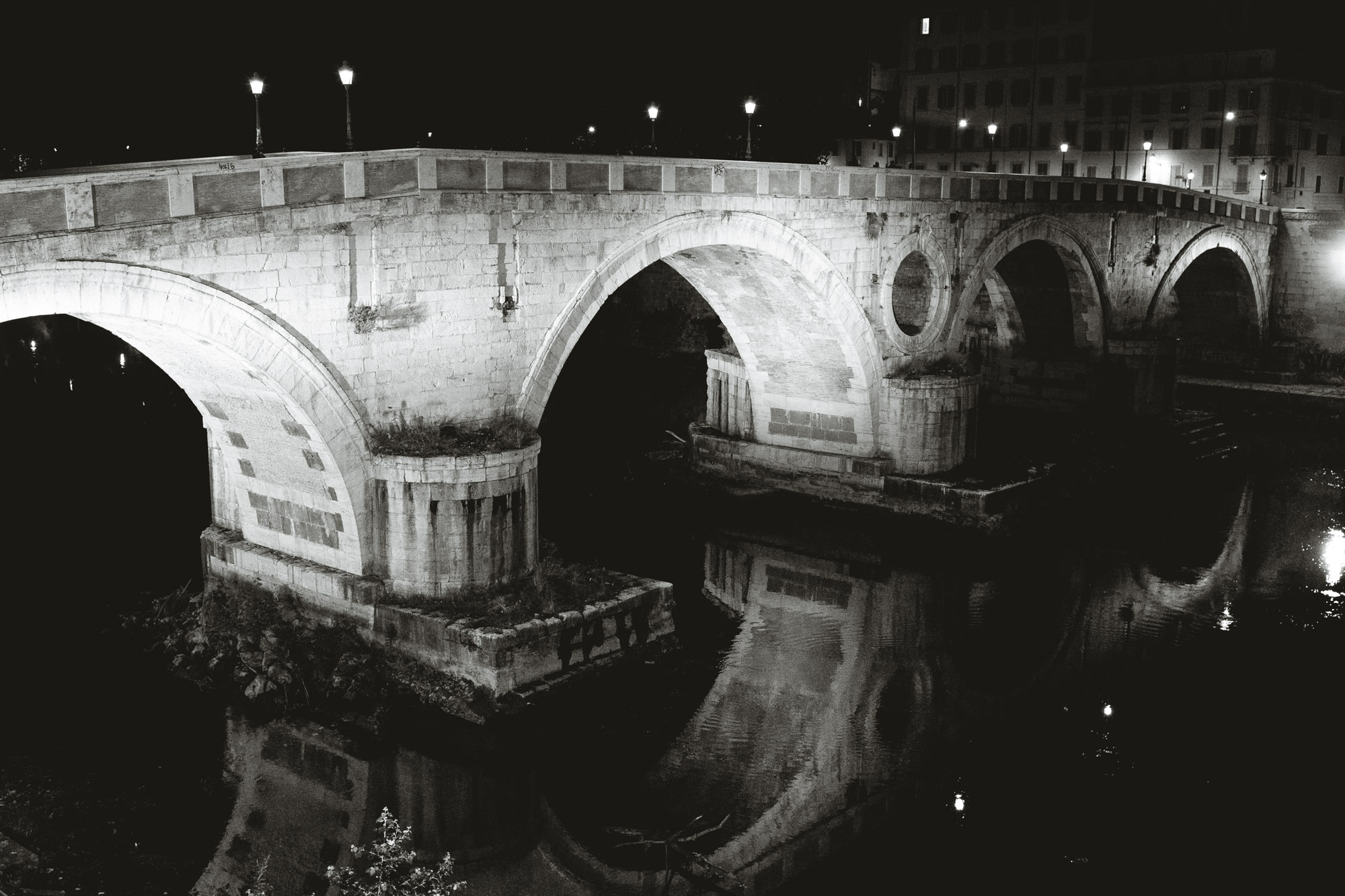 Ponte Sisto footbridge seen at night
