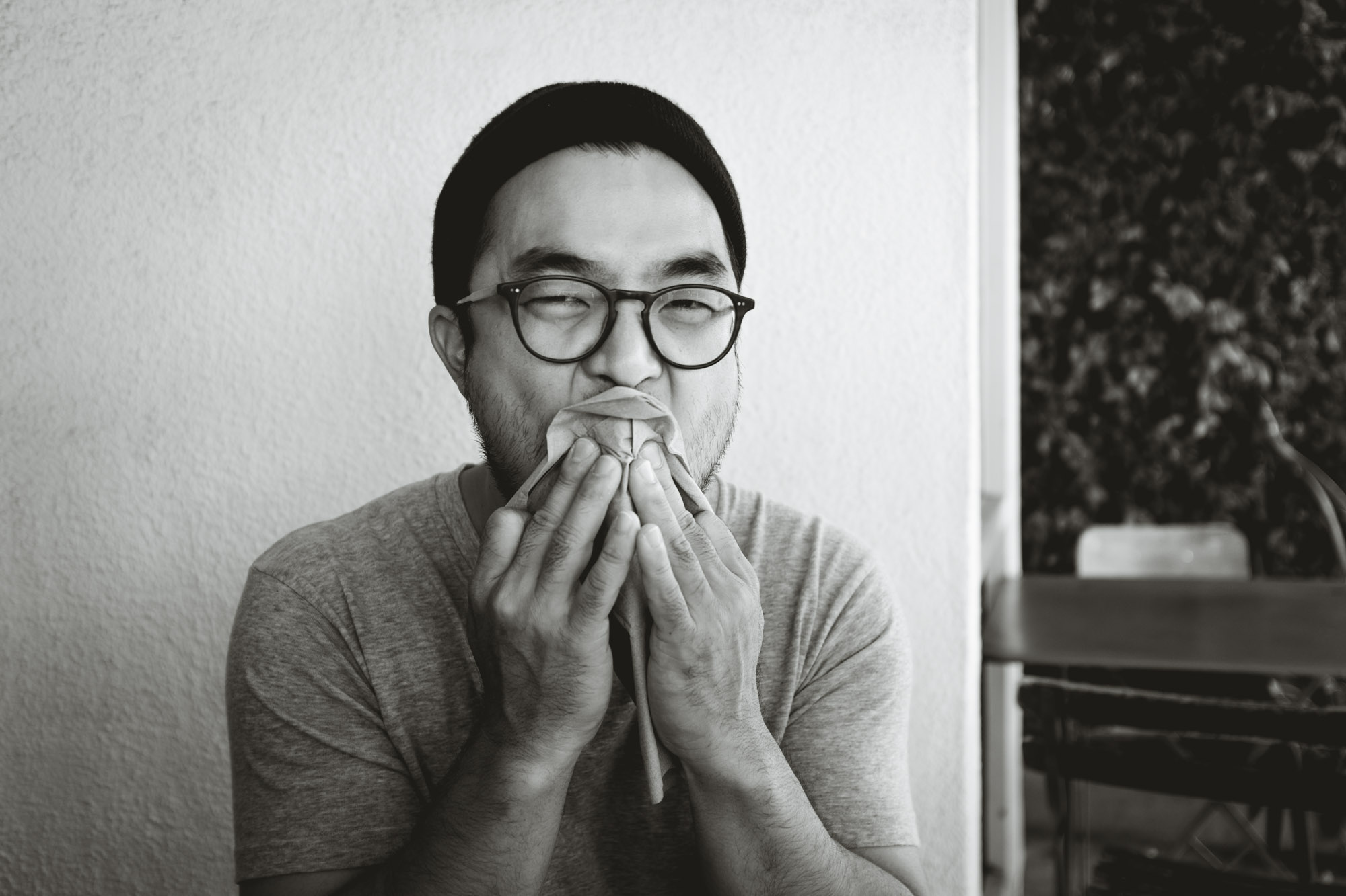 Charles wiping his face at Forage in Los Angeles