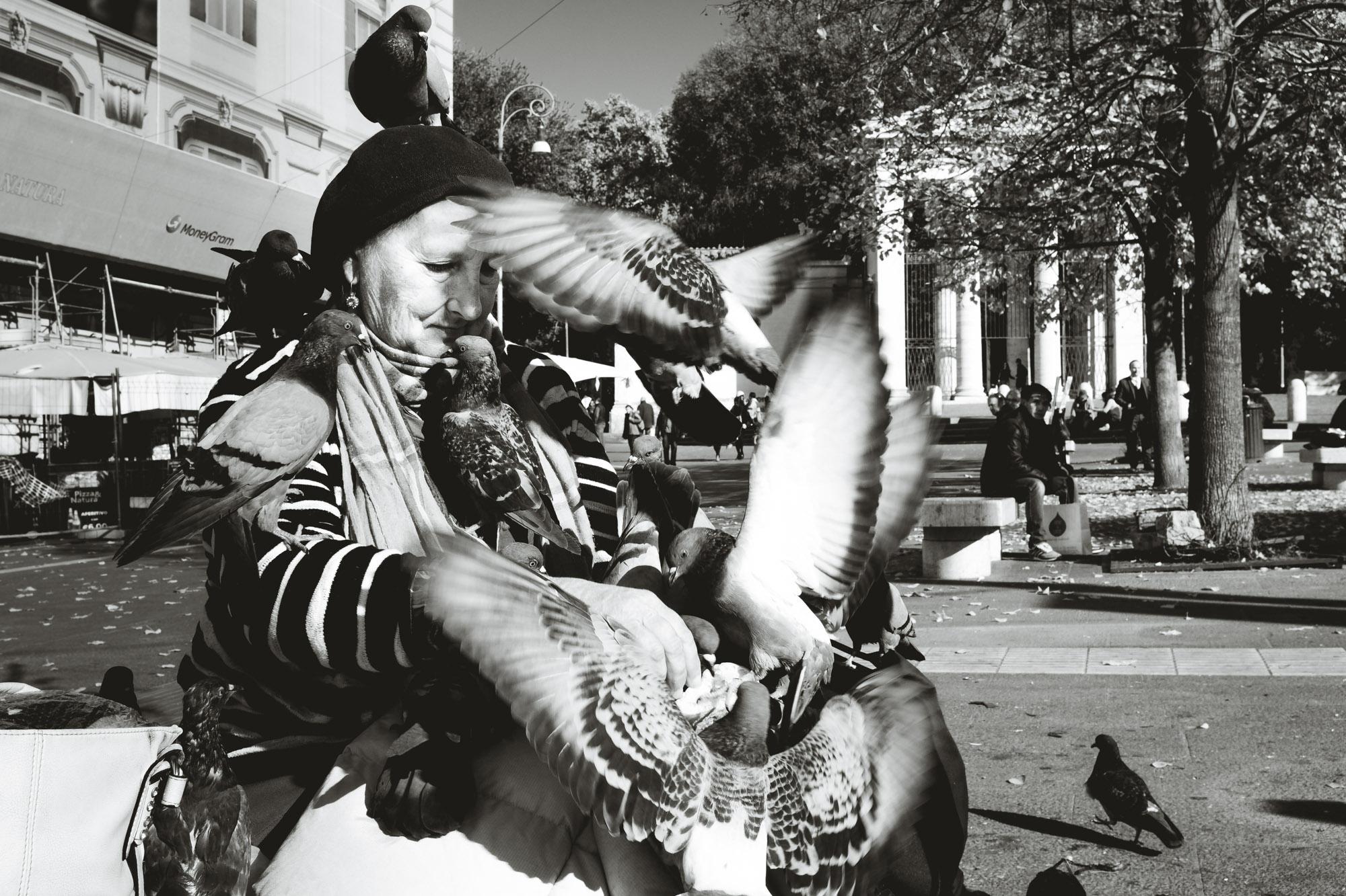 Woamn feeding pigeons while they swarm her