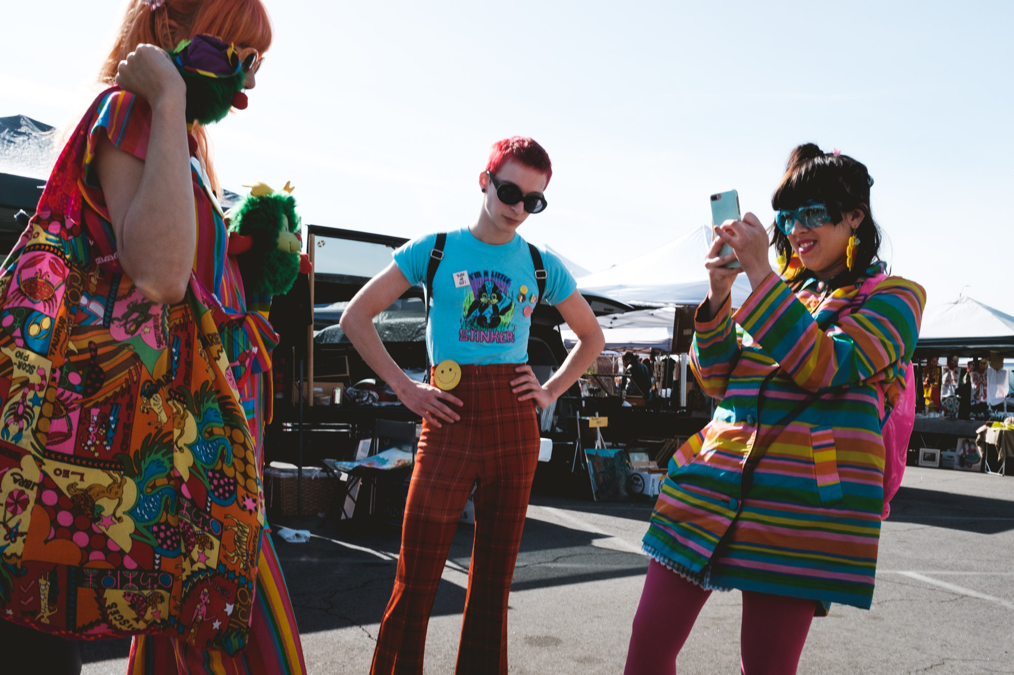 Girls dressed in colorful clothing