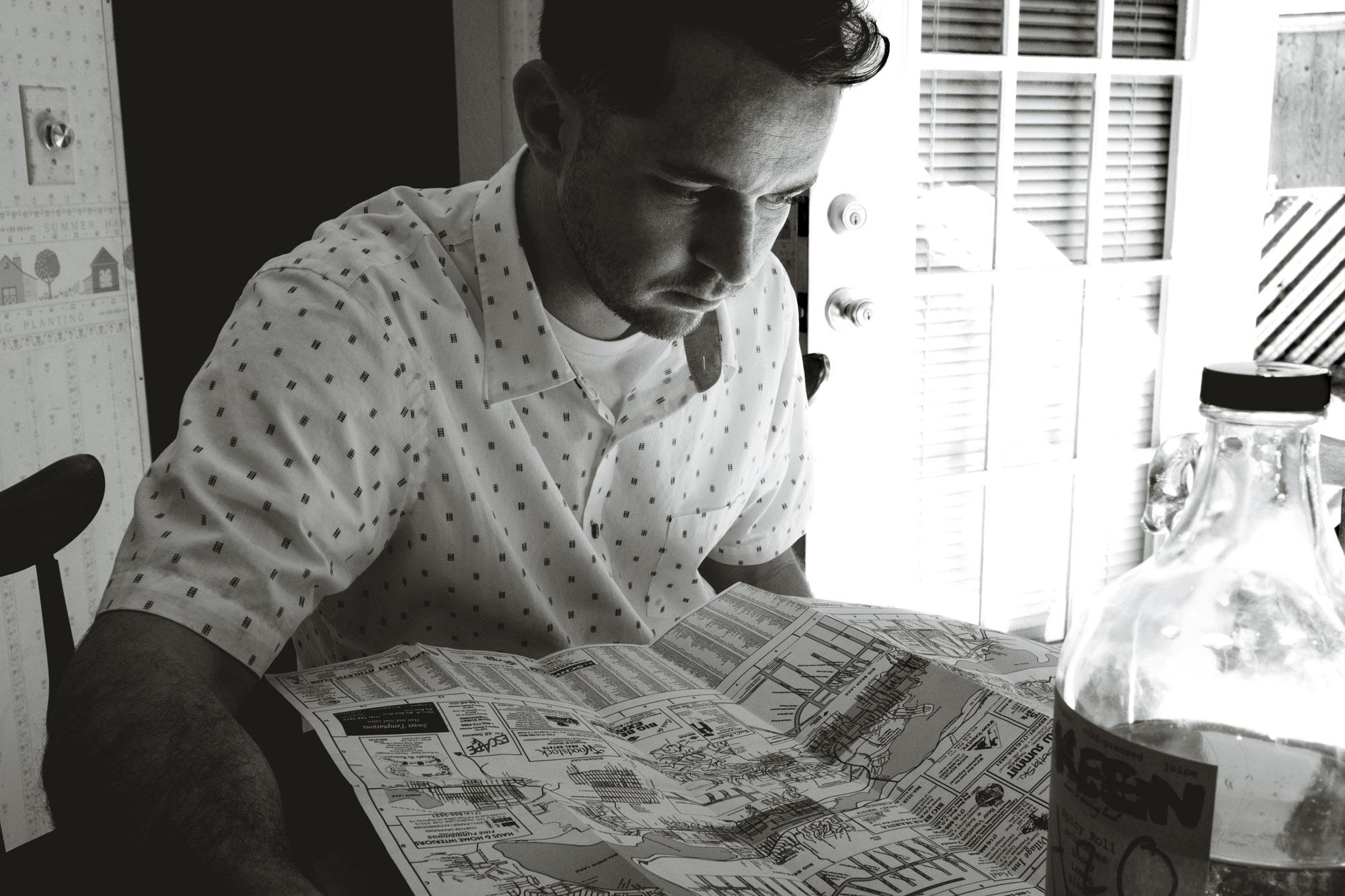 Ian reading a map of Big Bear