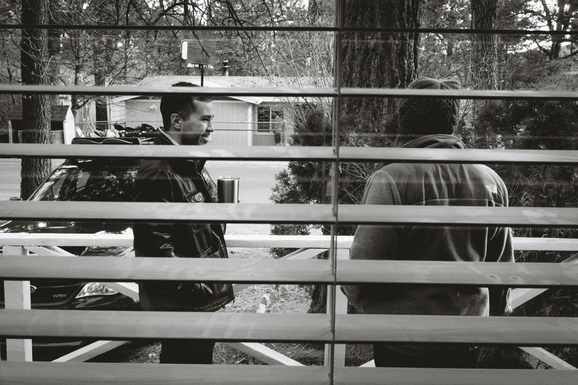 Justin and Caitlyn chatting outside in Big Bear