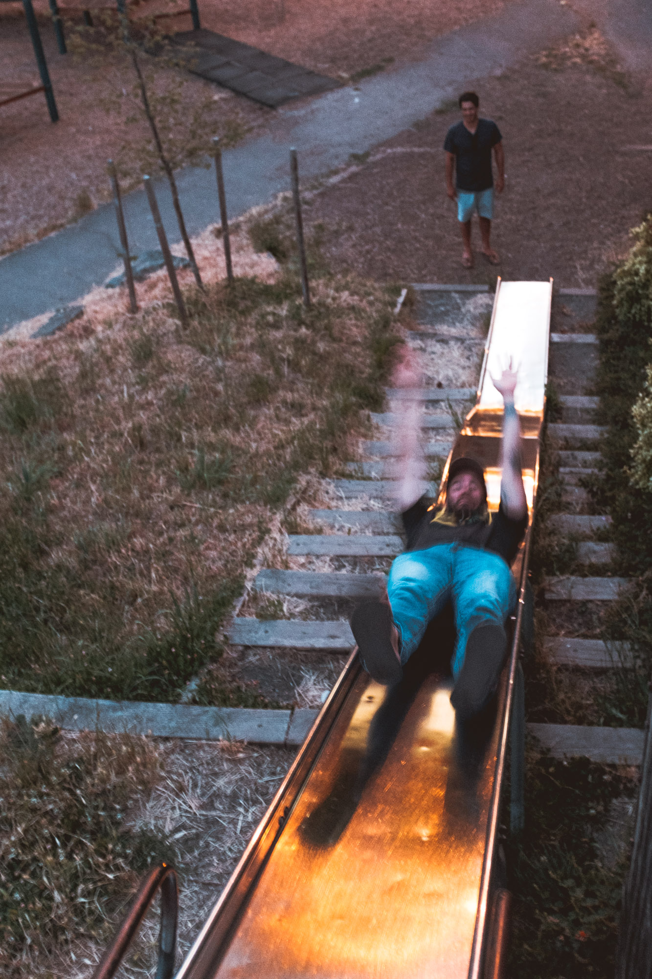 Tony-going-down-slide-frank-Portland-Oregon