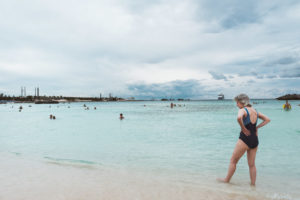 woman-beach-great-stirrup-cay-norweigan-sky-bahamas