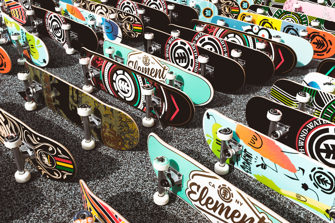 Wide shot of many brand new Element brand skateboards.